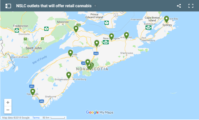 NSLC Outlets that will offer Cannabis